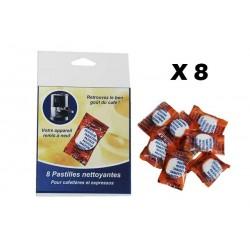 Pack de 8 Pastilles Nettoyantes & Dégraissantes Machines à café ADHOC 311004