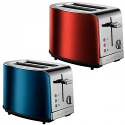 Grille-pain 2 fentes RUSSELL HOBBS T23-500 Inox Brossé Bleu Topaze ou Rouge