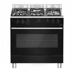 Cuisinière 5 foyers Gaz + Four Géant Électrique | 90 cm x 60 cm | Noir