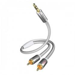 Câble Jack Stéréo HQ PREMIUM 3,5MM 3PIN Mâle/2 X RCA Mâle - 00410003 -Gris