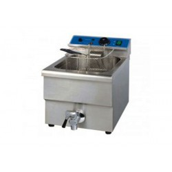 Friteuse Professionnelle 12L 1 Cuves + Robinet ALPHA EF-12L Inox