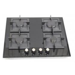 Table de Cuisson 60 cm 4 Foyers gaz WILSON BDS602MG Vitrée Noire