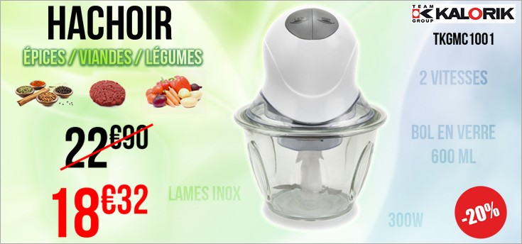 PROMO -20% Hachoir 600 ml TEAM KALORIK TKG MC 1001 Blanc, Gris