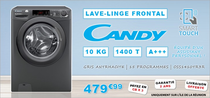 Lave-linge Frontal 10kg 1400T CANDY CSS1410TR3R A+++ Anthracite