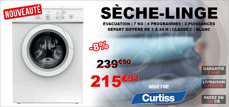 Sèche-linge frontal 7kg - Évacuation - CURTISS MSE70E C - Blanc
